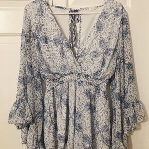 -Altar'd State Paisley Blue Romper-